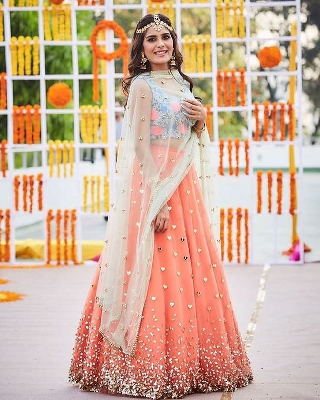 Light Orange Net Heart Shape Studded Modern And Beautiful Lehenga