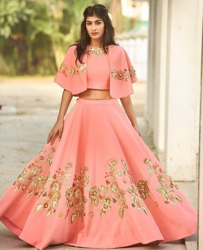 Peach Cotton Silk Embroidered Indo Western Stylish & Cool Look Elaborate designs Lehengas