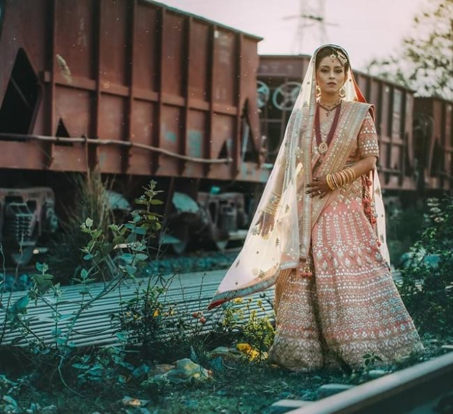 Peach Net Lace Work & Embroidered New Age Patterns And Designer Bridal Lehengas