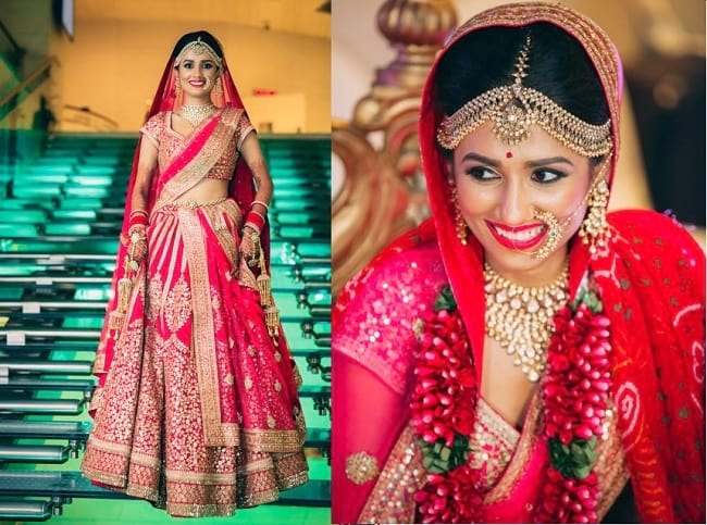 Pink Heavy Embroidered & Lace Work Perfect Indian Touch Bridal Lehengas