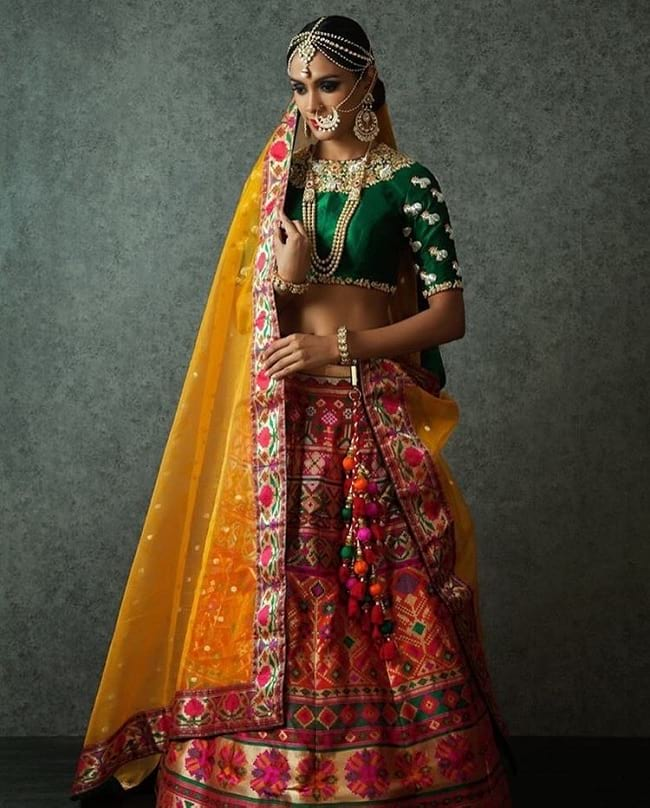 Multi Color Cotton Silk Embroidered Lace Work Eye Catching Lehengas