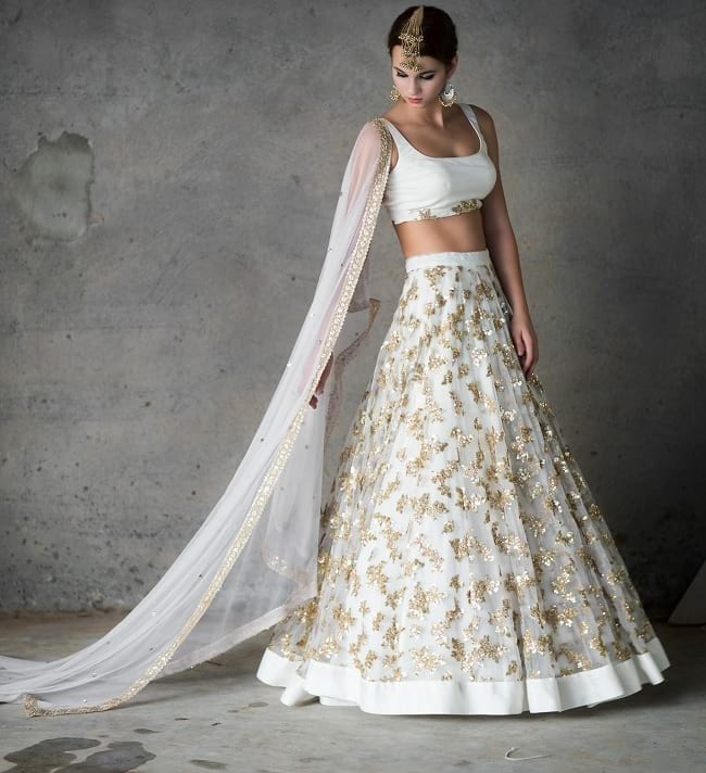 White Net Lace Work CharmFull Bridal Lehengas Choli