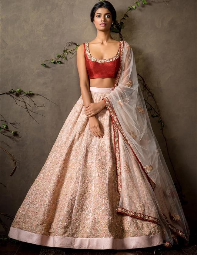 Pink Cotton Full Embroidered & Lace Work Lehengas With Indian Bridal