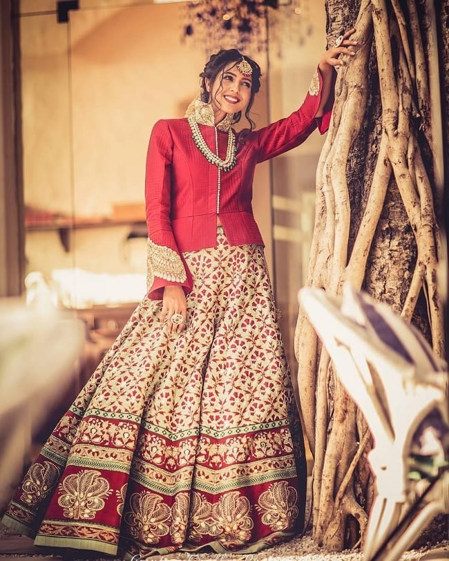 5fe728c29f6 Cream Printed Bridal Lehenga With Long Choli. Red   Cream Cotton Silk  Heavey Work Eye Catching Indian   International Perfect Bridal Lehenghas