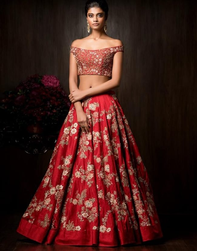 Red Georgette Embroidered Easy To Wear Lehengas Choli