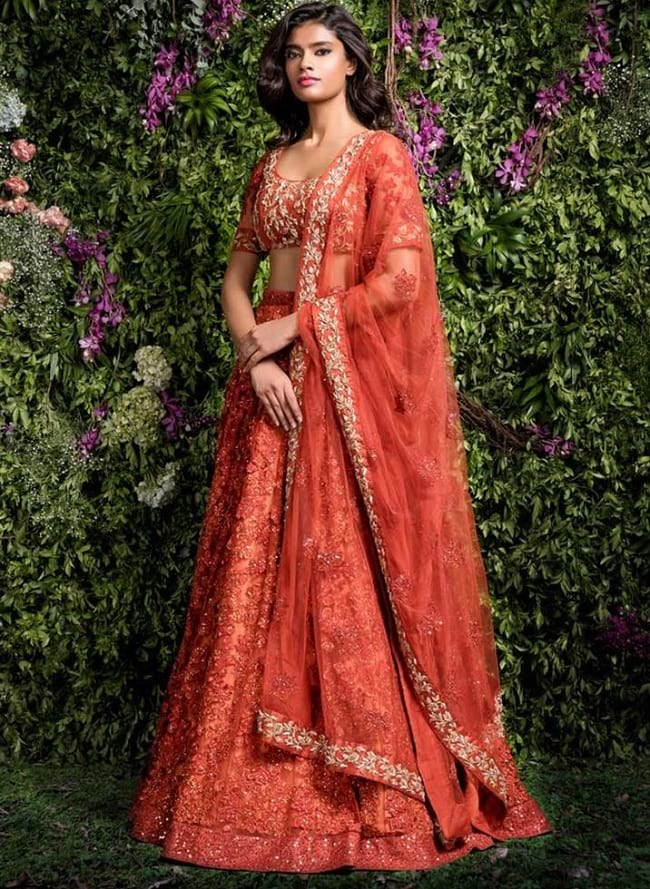 Orange Net   Silk Heavey Embroidered Red Carpet   Bridal Lehengas Choli 45284e400