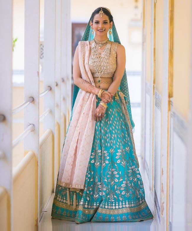 Blue & Pink Silk Lace Work Sangit Function Lehengas For Bridal