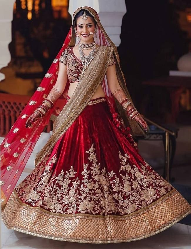 Red & Brown Net & Velvet glittering and shimmering Work Bridal Lehegas For Perfect Bridal