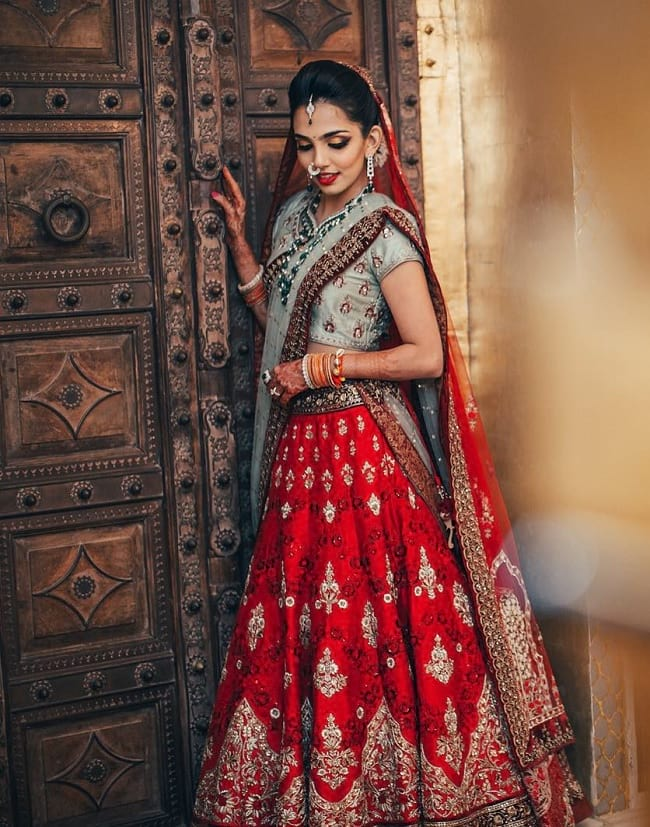 Red & Blue Cotton Silk charm and sophistication Bridal Lehengas