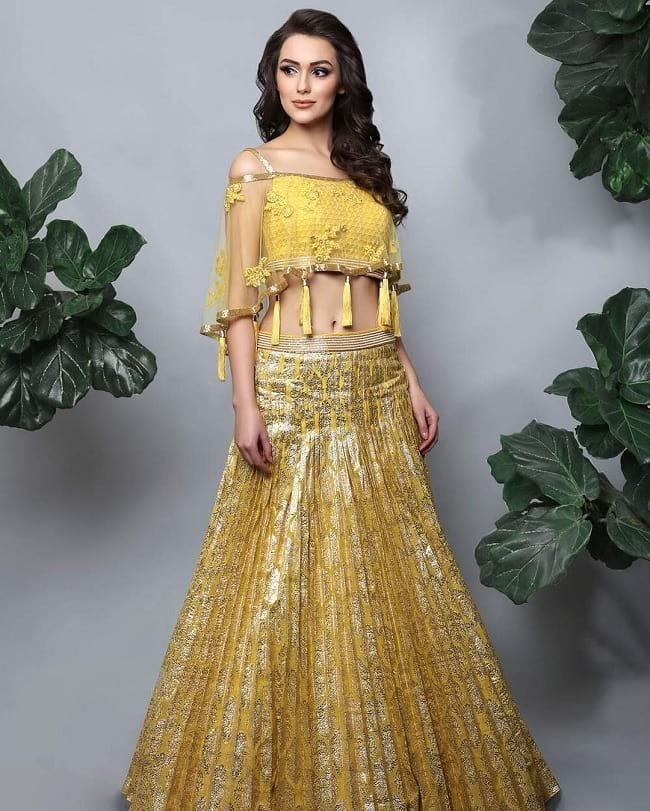 Full Yellow Modern And Beautiful Lehengas Design Online