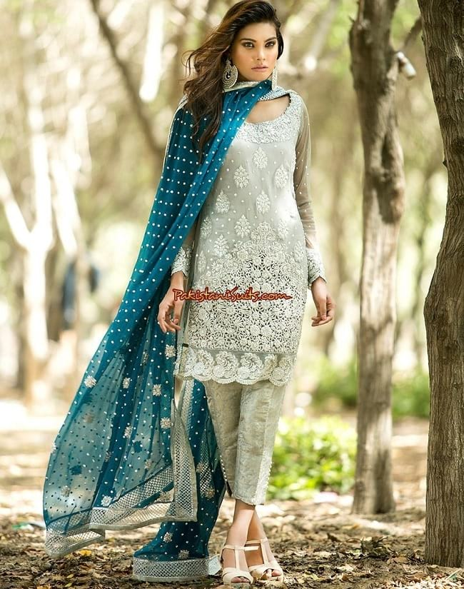 heavy embroidered pant style salwar suit design