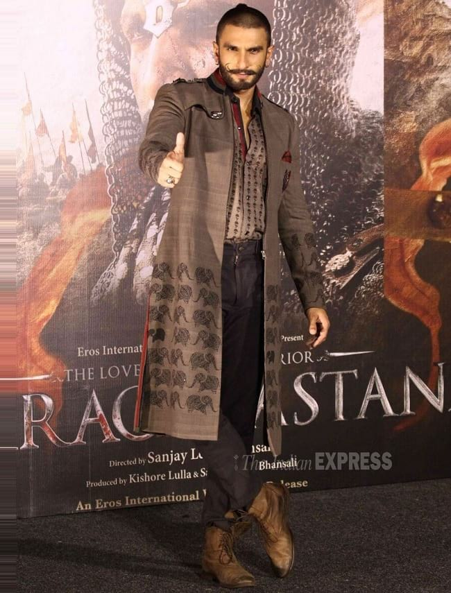 Brown embroidered sherwani look of ranveer singh