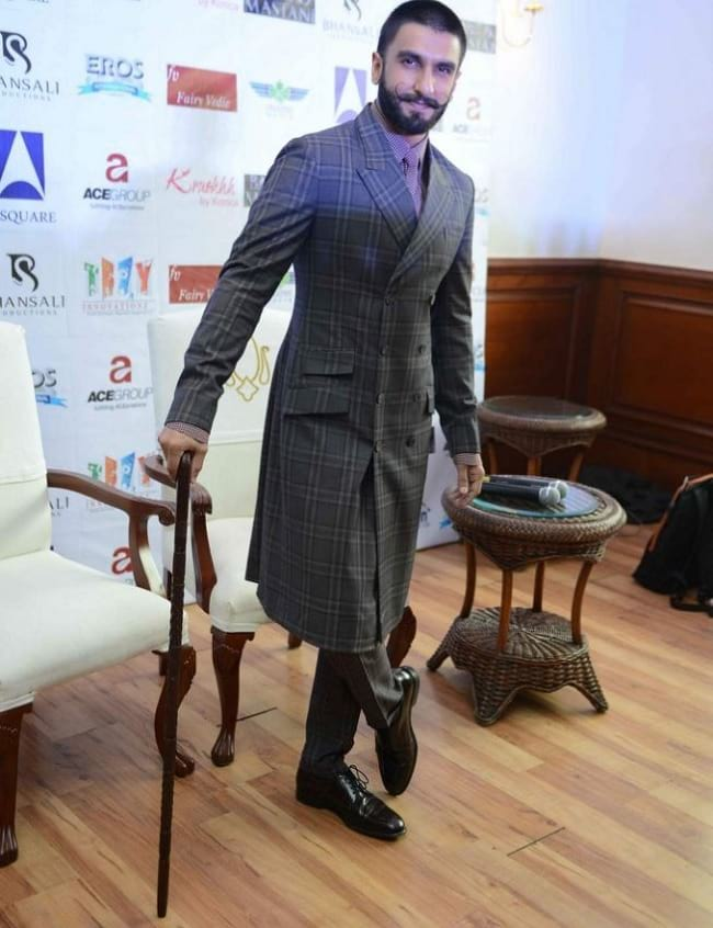 rajwadi look in gray checked long suit