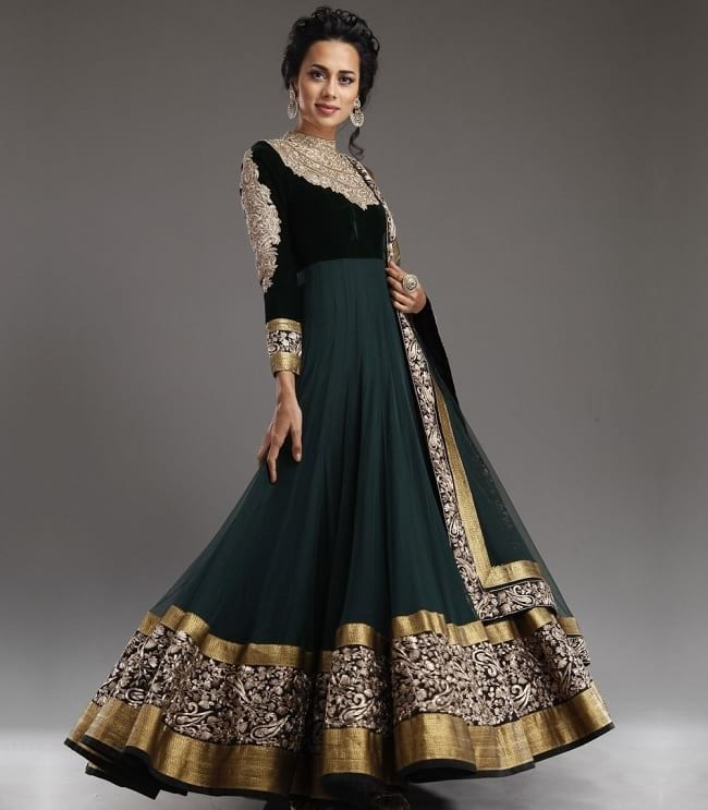 embroidered floor length long sleeves salwar suit design