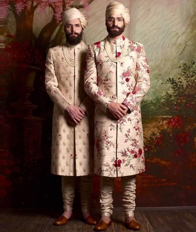 Floral Printed Sherwani for Indian Groom