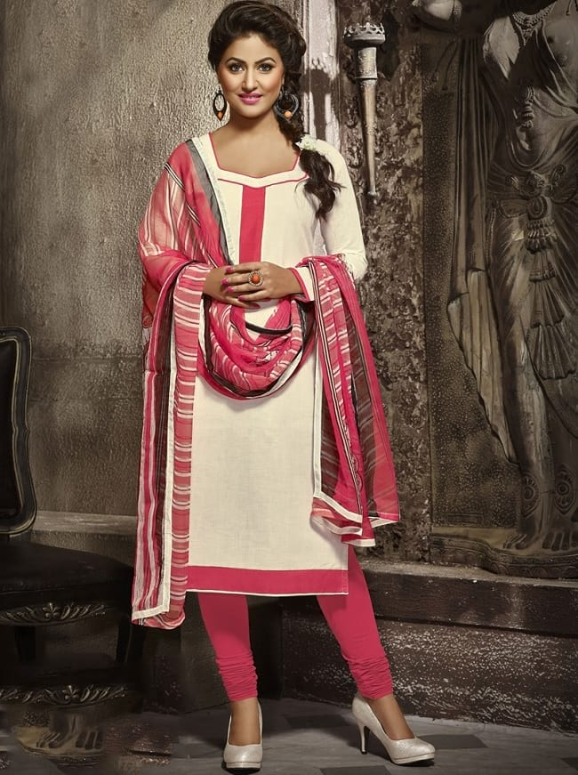 simple straight cut casual cotton salwar suit