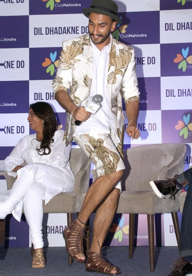 ranveer singh looks funky in white jacket & shorts