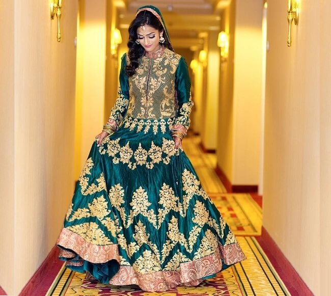 golden embroidery pakistani lehenga