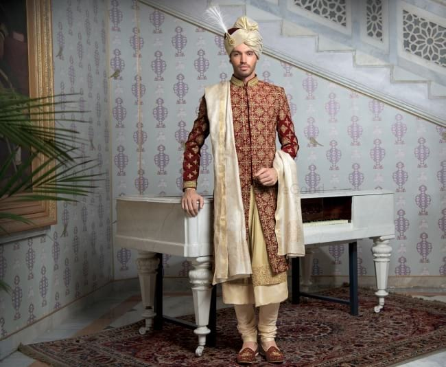 Maroon Wedding Sherwani, Anarkali Styler Wedding Sherwani