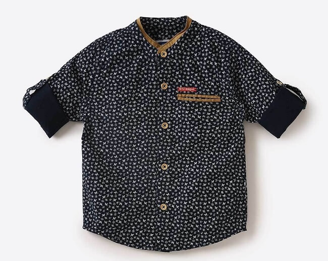612 league boys checked printed casual shirt