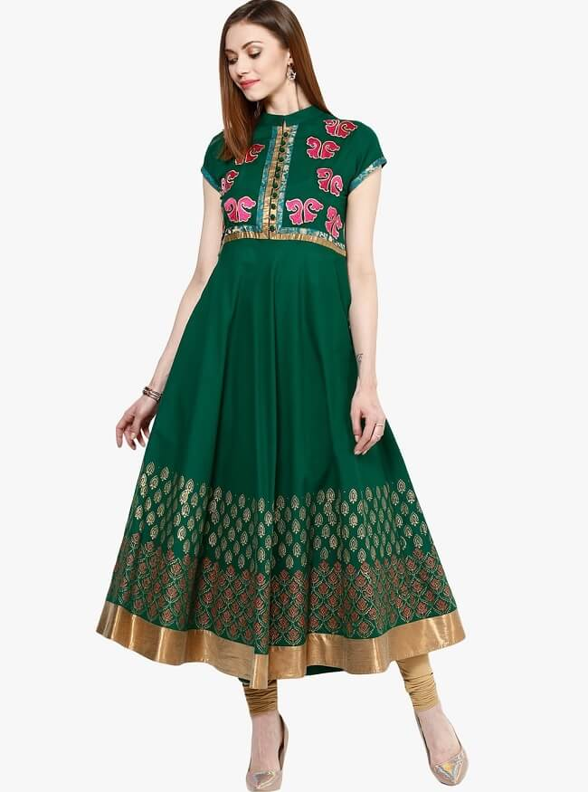 embroidered cotton band collar kurtis