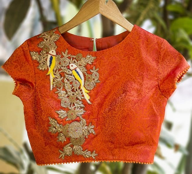 different types of thread work in blouse