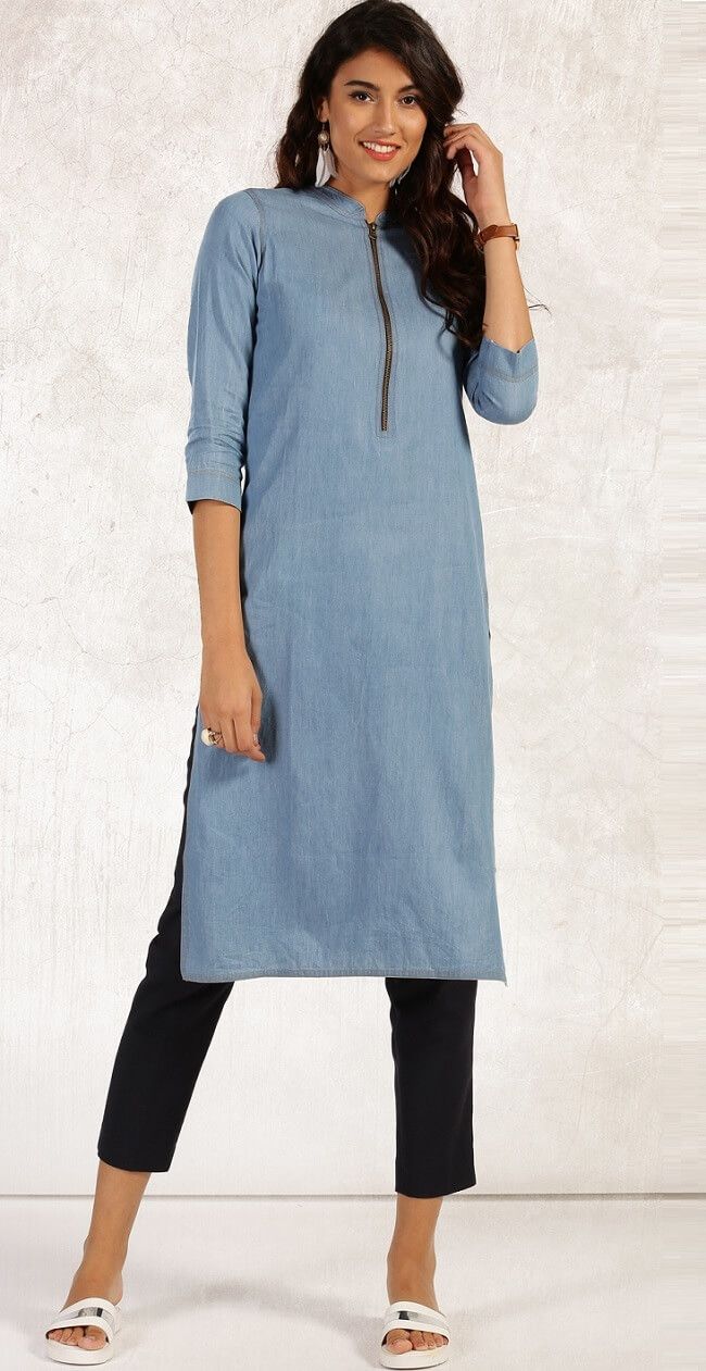 indian denim zip style long kurtis