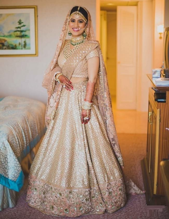 Beige Wedding Designer Lehenga Online With Price For Bridal