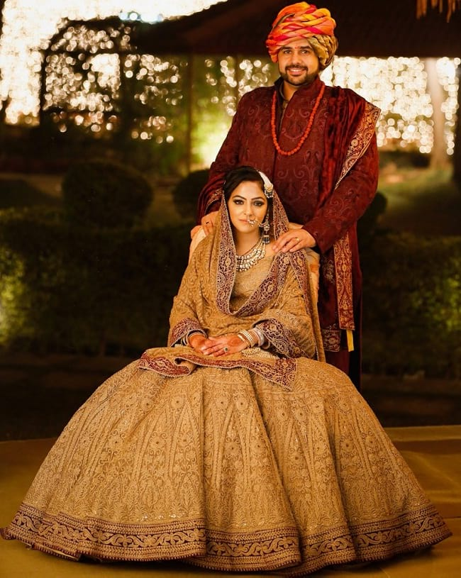brown latest design embroidered bridal lehenga with price