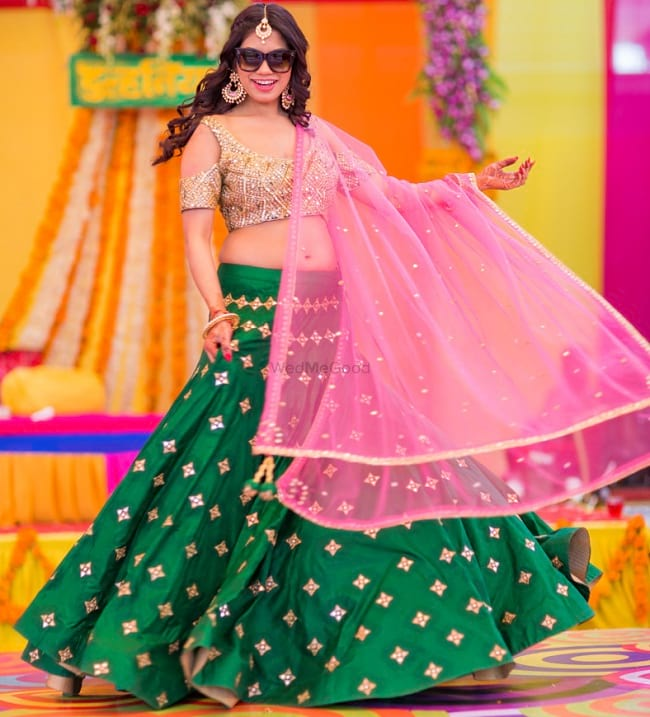 Pink & Green Motif Embroidered Wedding Bridal Lehenga