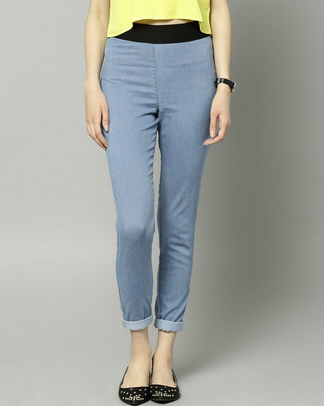 marks and spencer coloured jeggings with elasticated waist