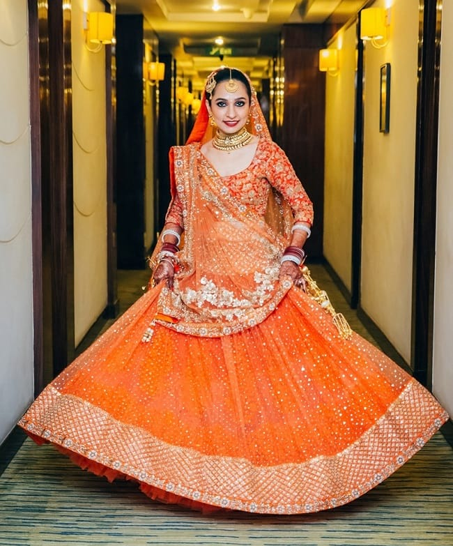Online Orange Net Desingner Wedding Lehenga