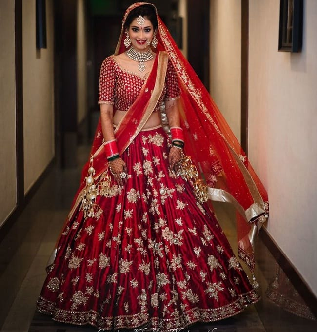 maroon embroidered wedding lehenga collection with price