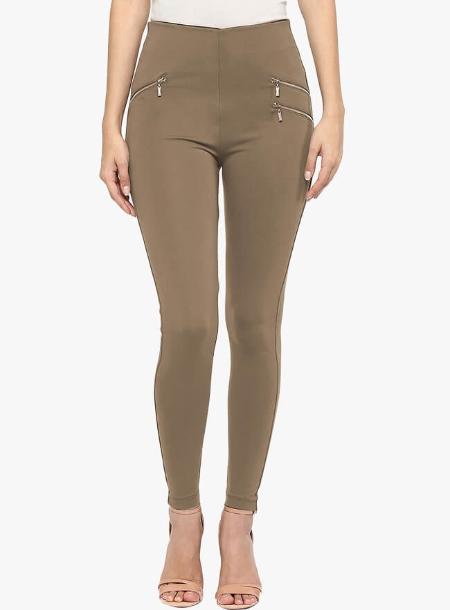 sakhi sang brown solid skinny fit jeggings