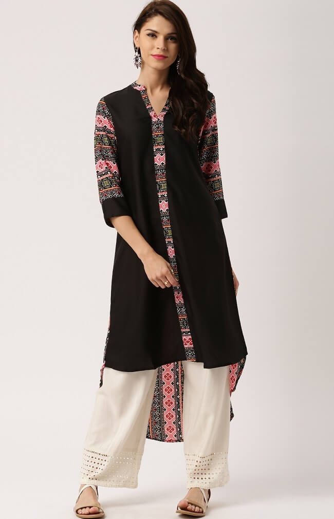 latest neck design of kurti online, printed tail cut kurti design
