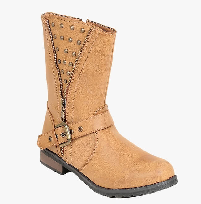 ten branded studded leather boots