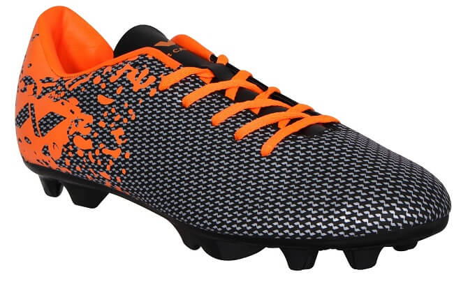 black and orange printed football shoes