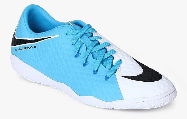 aqua blue and white side lace up football shoes
