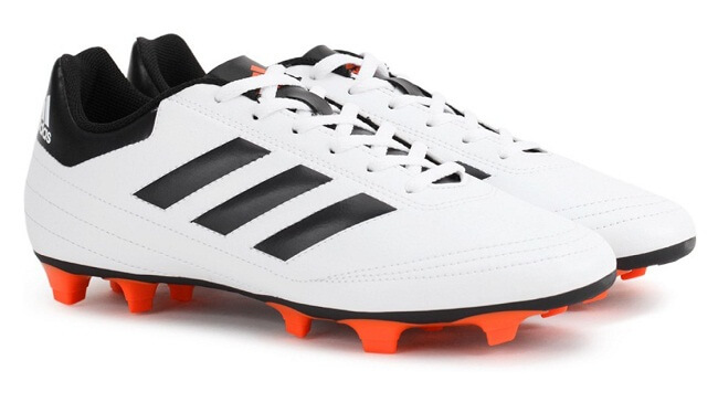 white and black lace up football shoes