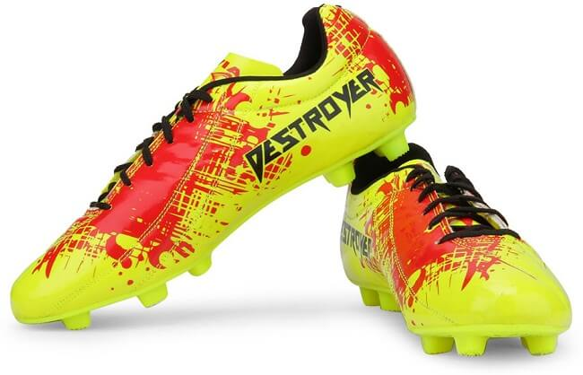neon green and red printed football shoes
