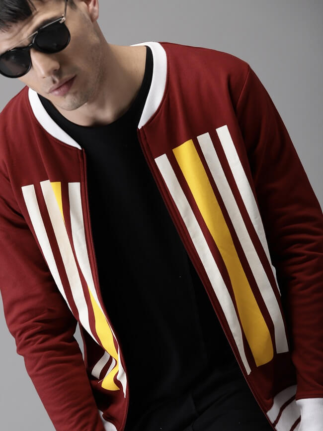 striped crew neck sweatshirt mens