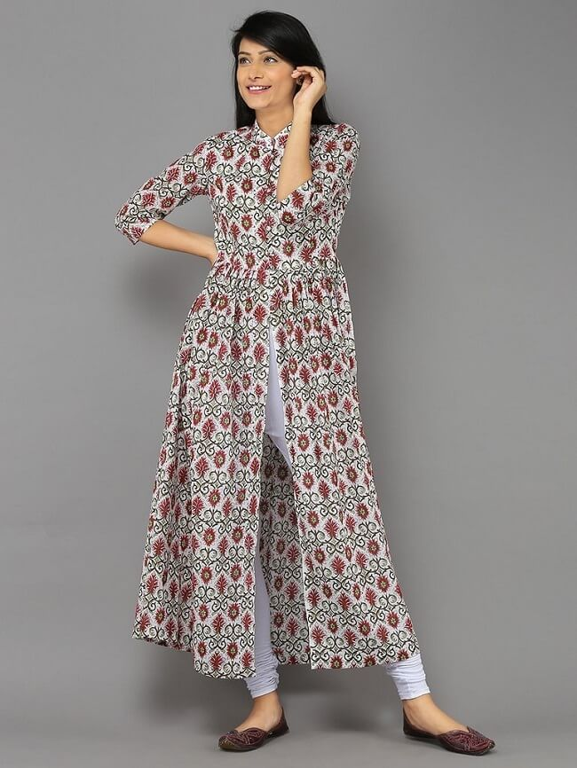 latest neck designs for kurtis with slit