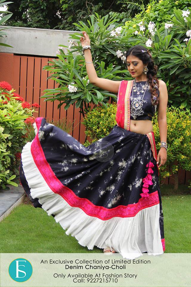 trendy collection denim ghagra choli designs, chaniya choli images with price
