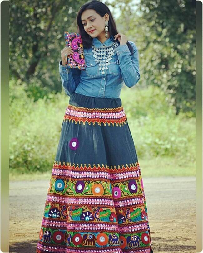 unique denim chaniya choli for this navratri 2018 price india