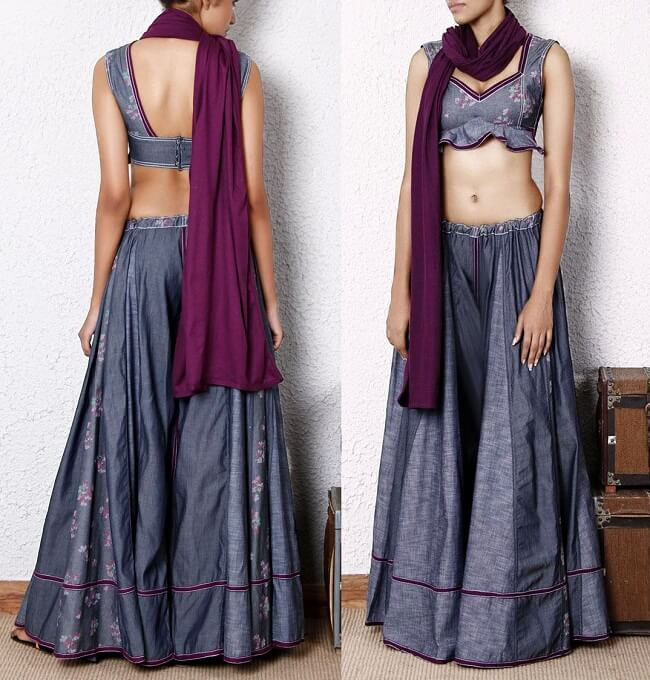 denim chaniya choli design with price