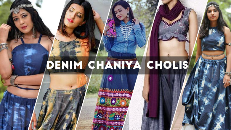 latest designer gujarati denim chaniya choli designs 2018 for navratri