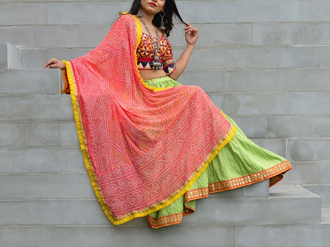 simple cotton chaniya choli design for navratri