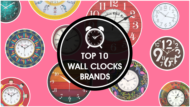 best wall clock brands of India to buy online for large drawing room, bed room, kitchen or dinning space in modern, funky or vintage designs