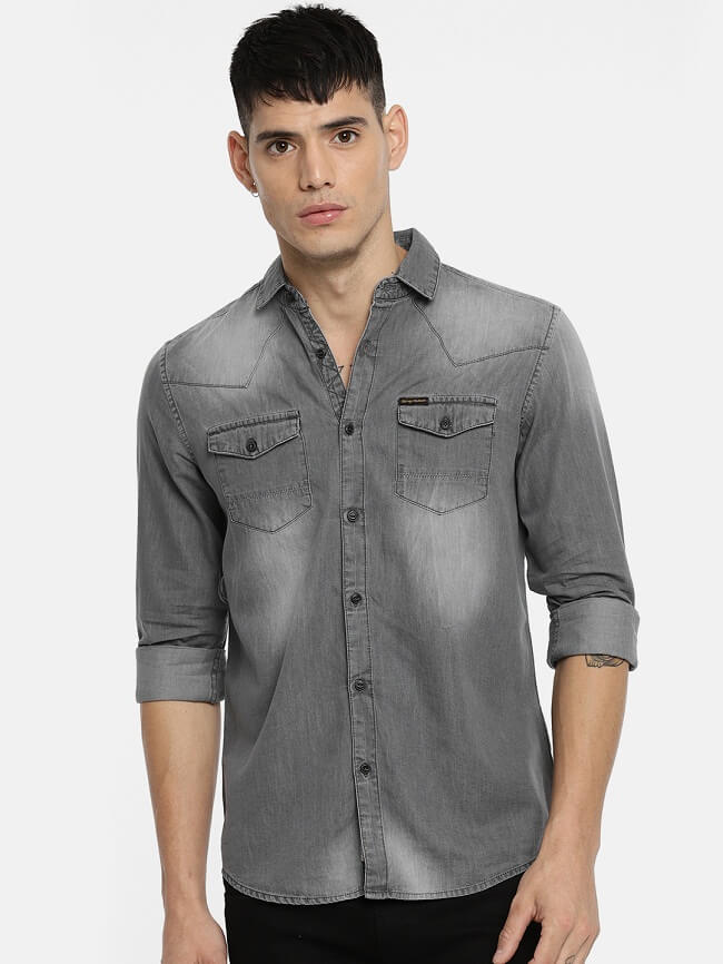 new look denim shirts for mens sale