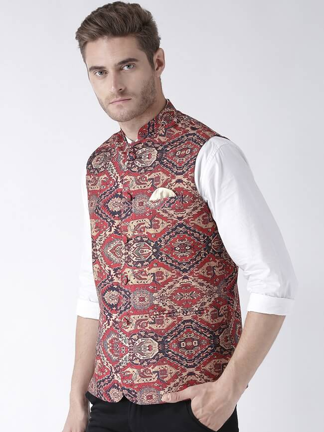 buy hangup multi coloured blended nehru jacket online